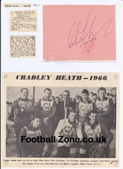 Cradley Heath Speedway Clive Featherby Signed Sheet + News 1960s