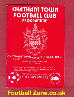 Chatham Town v Norwich City 1984 - Friendly Match