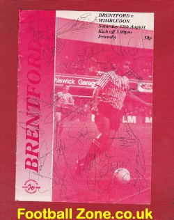Brentford v Wimbledon 1989 - Fully Autographed Both Teams