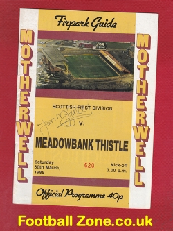 Motherwell v Meadowbank Thistle 1985 - Signed Autograph