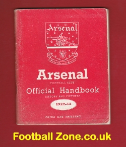 Arsenal Football Club Official Yearbook Handbook 1952 - 1953