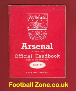 Arsenal Football Club Official Yearbook Handbook 1953 - 1954