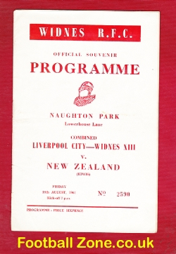 Liverpool City Rugby v New Zealand 1961 - Plus Widnes