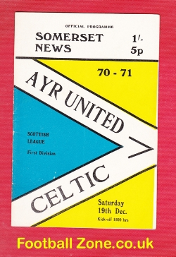 Ayr United v Glasgow Celtic 1970