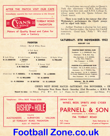 Paignton Rugby V HMS Implacable 1952