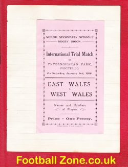 East Wales v West Wales 1926 - Schoolboys Rugby Union - PLUS