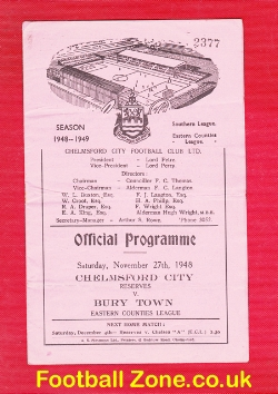 Chelmsford City v Bury Town 1948 - Eastern Counties League