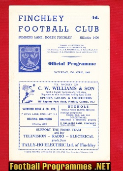 Finchley v Hornchurch Upminster 1963 - Athenian League