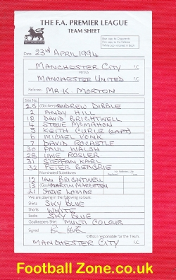 An Official Manchester City v Man Utd 1994 Managers Team Sheet