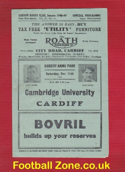 Cardiff Rugby v Cambridge University 1948