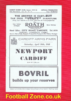Cardiff Rugby v Newport 1948 - 40s