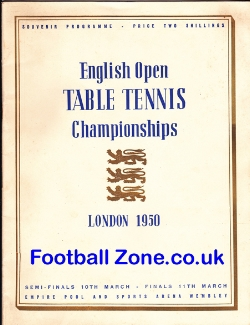 English Open Table Tennis Championships London 1950
