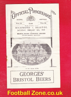 Bristol Rugby v Richmond 1939 - at Filton Avenue