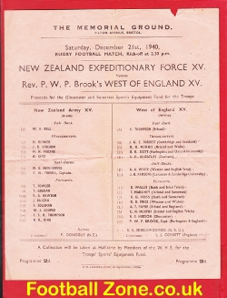 West Of England Rugby v New Zealand Army 1940 - at Bristol