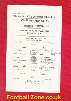 Chelmsford City v Barry Town 1960 - Single Sheet Programme