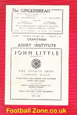 Grantham Town v Ashby Institute 1953 - FA Cup - Scunthorpe