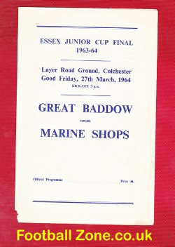 Great Baddow v Marine Shops 1964 - Essex - Junior Cup Final