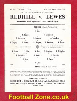 Redhill v Lewes 1964 - FA Cup Replay