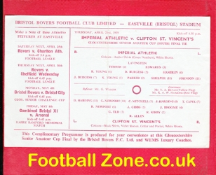 Imperial Athletic v Clifton St Vincents 1959 - Amateur Cup Final