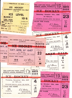 Ice Hockey Pack of Used Old Tickets 1940s