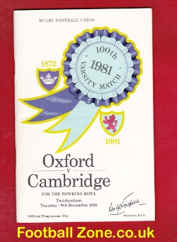 Oxford Rugby v Cambridge 1981