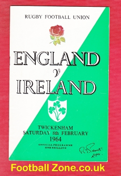 England Rugby v Ireland 1964 - 1960s
