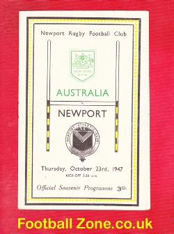 Newport Rugby v Australia 1947 - Official Souvenir Programme