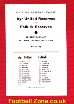 Ayr United v Falkirk 1972 - Reserves Match