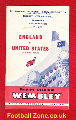 England Womens Hockey v America USA 1962 - Wembley Plus Ticket