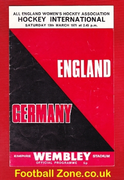England Womens Hockey v Germany 1971 - Wembley Plus Ticket