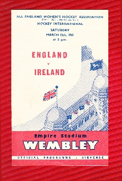 England Womens Hockey v Ireland 1961 - Wembley Plus Ticket
