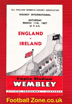 England Womens Hockey v Ireland 1967 - Wembley Inc Ticket