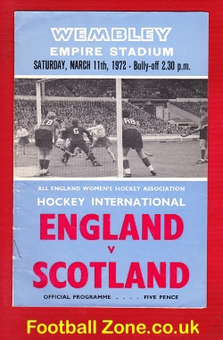 England Womens Hockey v Scotland 1972 - at Wembley + Ticket