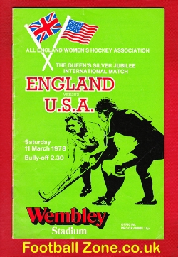 England Womens Hockey v America USA 1978 - Wembley with Ticket