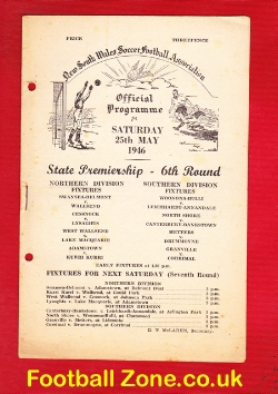 Australia New South Wales Soccer Football Programme 1946