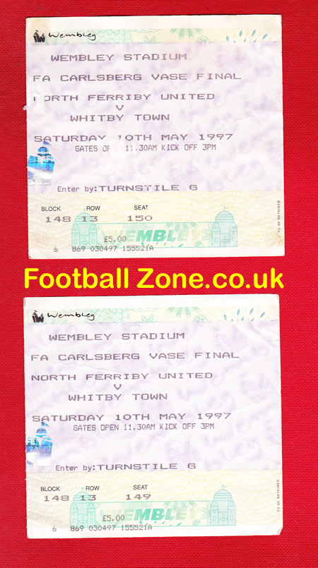 Whitby Town V North Ferriby United 1997 Fa Vase Final Ticket