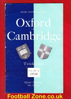 Oxford Rugby v Cambridge 1950 - Plus Newspaper Review