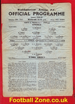 Walthamstow Avenue v Wood Green 1945 - War Time Issue