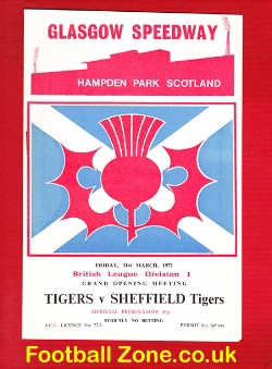 Glasgow Tigers Speedway v Sheffield Tigers 1971
