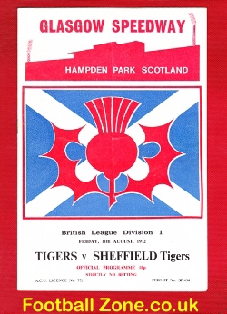 Glasgow Tigers Speedway v Sheffield Tigers 1972