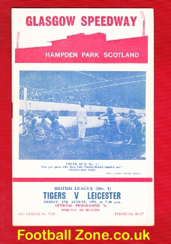 Glasgow Tigers Speedway v Leicester Lions 1971