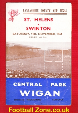 St Helens Rugby v Swinton 1961 - Lancashire Cup Final