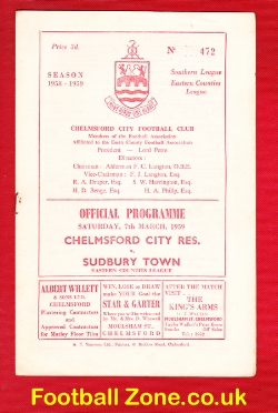 Chelmsford City v Sudbury Town 1959 - Reserves Match