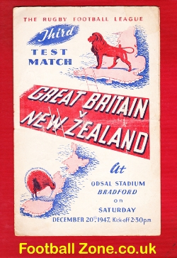 Great Britain Rugby v New Zealand 1947 - at Odsal Bradford