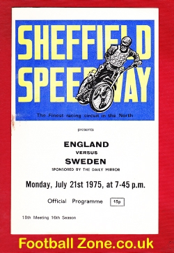 England Speedway v Sweden 1975 - at Sheffield