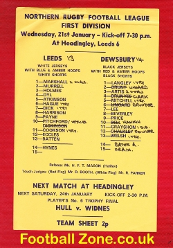 Leeds Rugby v Dewsbury Single sheet 1970s
