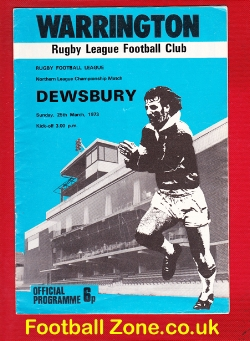 Warrington Rugby v Dewsbury 1973