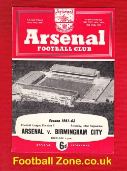Arsenal v Birmingham City 1961