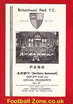 Birkenhead Park Rugby v Army Northern Command 1954