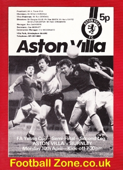 Aston Villa v Burnley 1978 - Youth Cup Semi Final